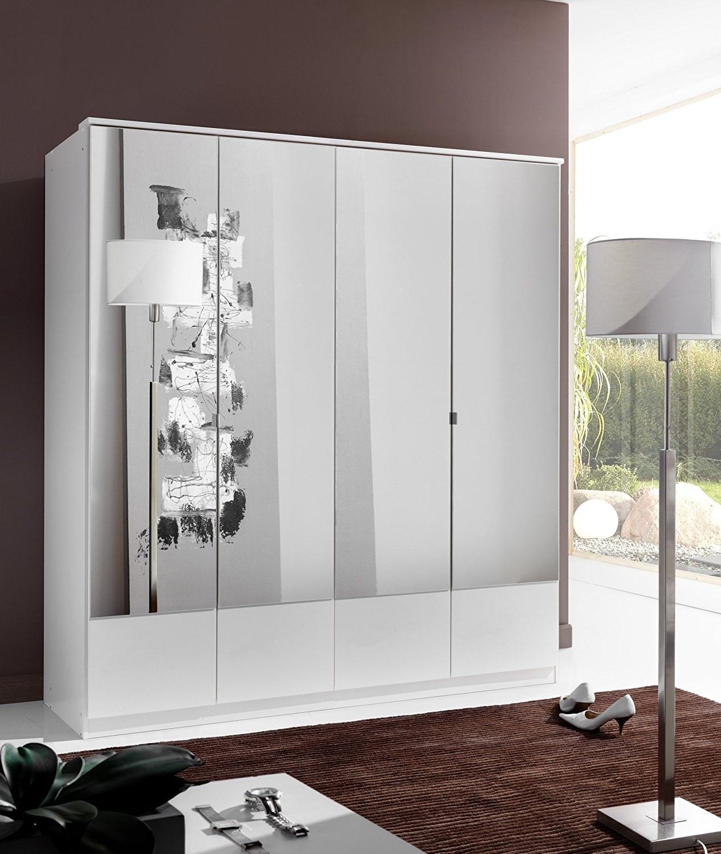 Current German Imago White 4 Door Mirror Door Wardrobe: Amazon.co (View 5 of 15)