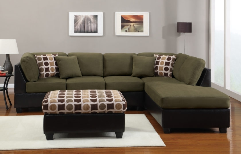 Current Green Sectional Sofas With Chaise For Brilliant Green Sectional Sofa With Espresso Leather Sectional (View 3 of 10)