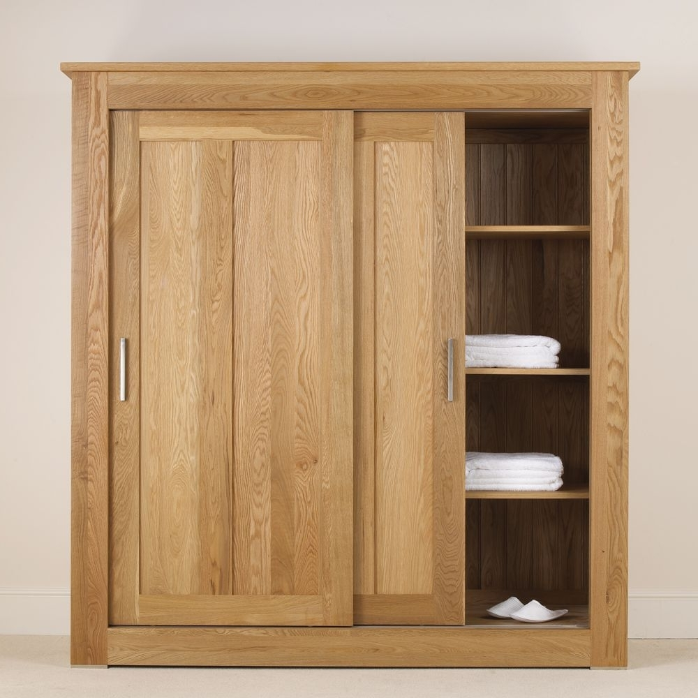 Current Large Oak Wardrobes Regarding Quercus Solid Oak Sliding Door Wardrobe  (View 4 of 15)