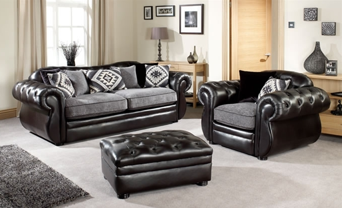 Current Leather And Cloth Sofas Within Stunning Fabric Leather Sofa Leather Fabric Sofas Uk – Interiorvues (View 2 of 10)