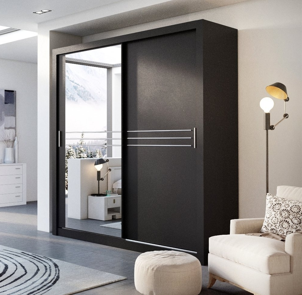 Current Modern Bedroom Wardrobe Sliding Door Havana Black 203Cm Sold With Regard To 2 Sliding Door Wardrobes (View 5 of 15)