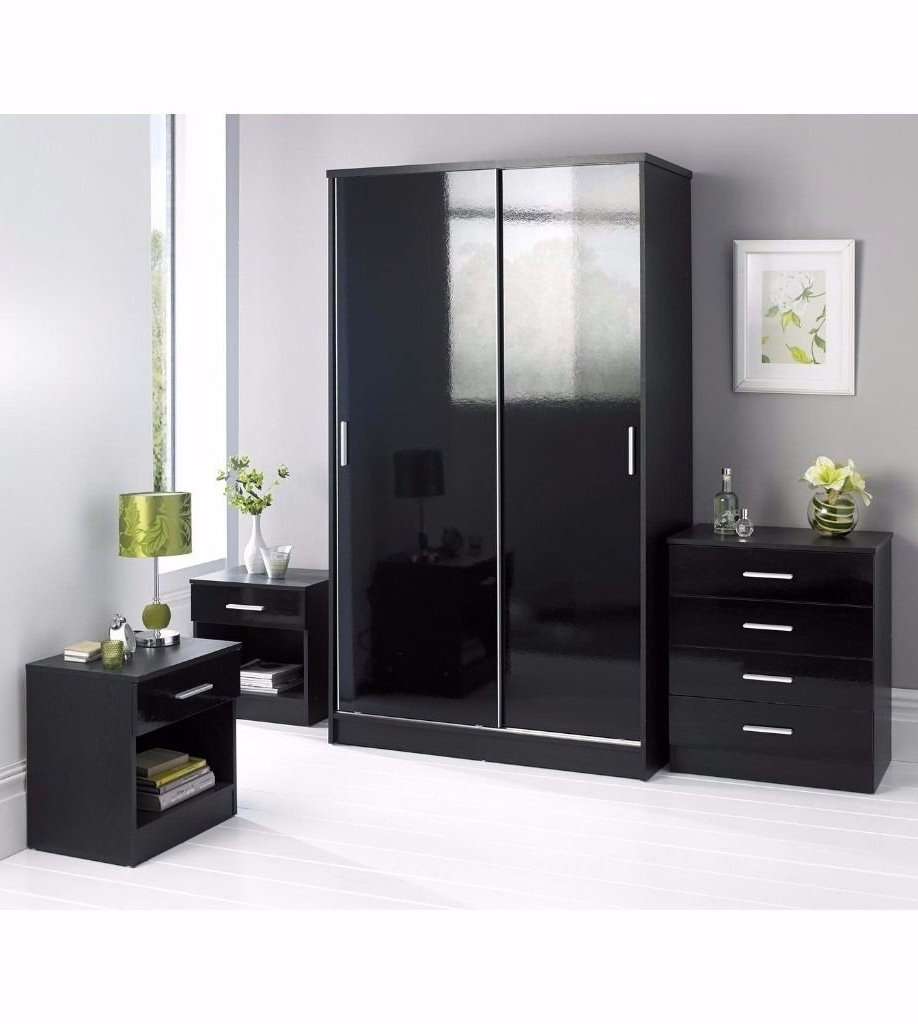 Current New Black 4 Piece Set With Sliding Wardrobe Chest Of Drawers 2 X Throughout High Gloss Sliding Wardrobes (View 13 of 15)