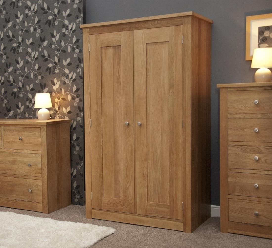 Current Oak Wardrobes Regarding Torino Solid Oak 2 Door Double Wardrobe (View 2 of 15)