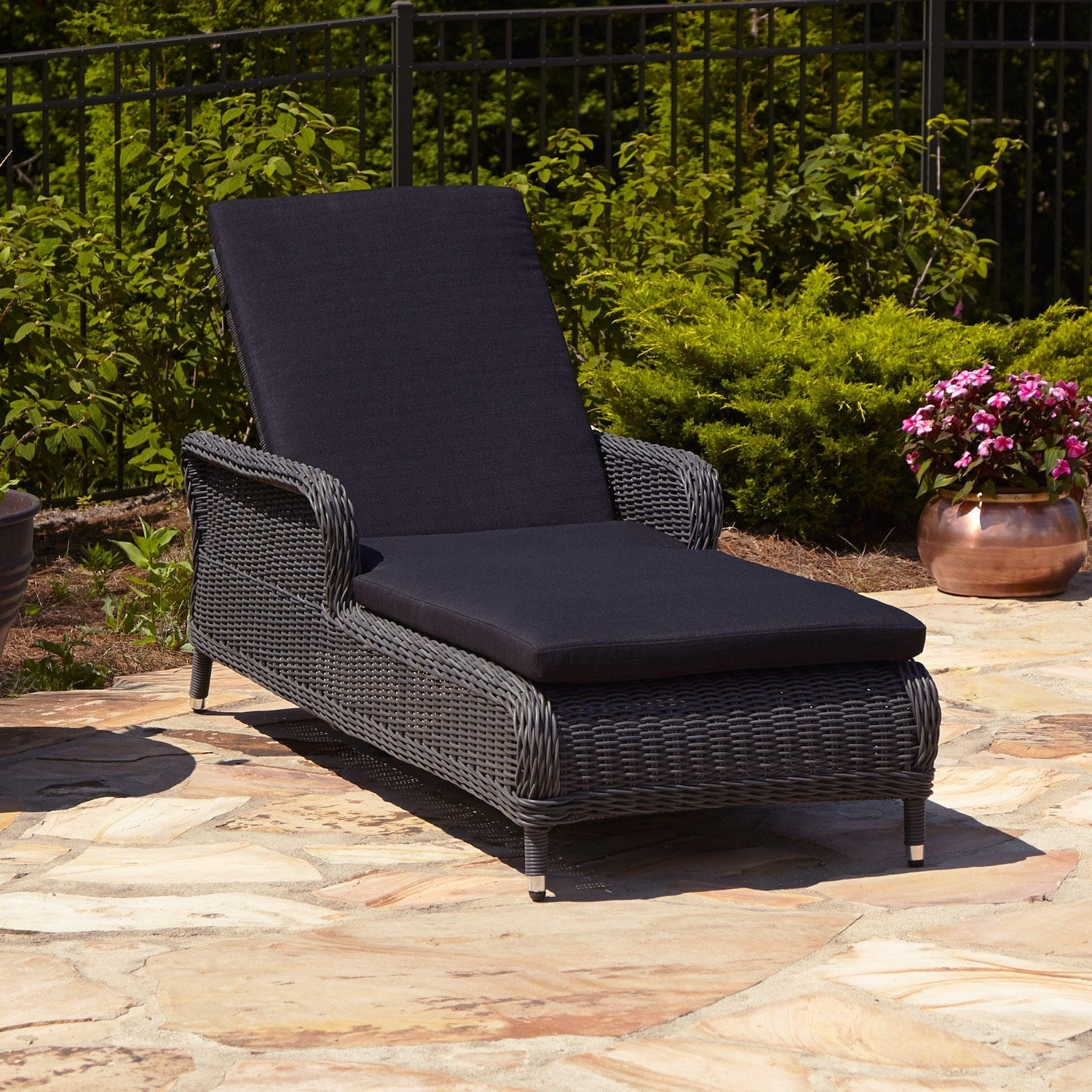 Current Remarkable Wicker Chaise Lounge Chair Gray Patio Furniture All Pertaining To Chaise Lounge Chairs With Cushions (View 5 of 15)