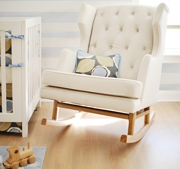 Current Rocking Sofa Chairs Inside Baby Nursery Decor: White Color Rocking Chair Baby Nursery Sofa (View 10 of 10)