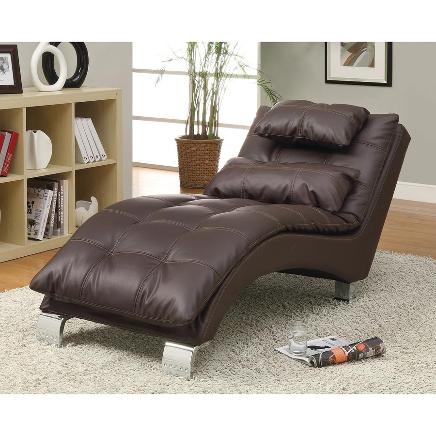 Current Shop Coaster Fine Furniture Modern Brown Vinyl Chaise Lounges At For Coaster Chaise Lounges (View 7 of 15)