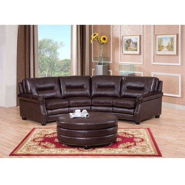 Curved Sectional Sofas With Recliner In Most Up To Date Delta Chocolate Brown Curved Top Grain Leather Sectional Sofa And (View 5 of 10)