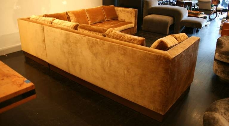 Custom Gold Silk Velvet Sectional Sofa, Usa 2000 At 1Stdibs Throughout Widely Used Gold Sectional Sofas (View 2 of 10)