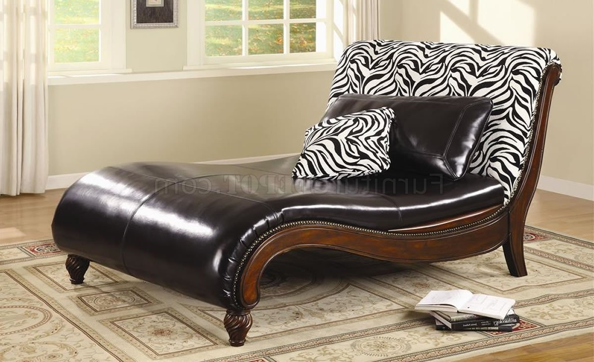 Dark Brown Bycast Leather Stylish Chaise Lounge W/zebra Back Within 2017 Leather Chaises (View 4 of 15)