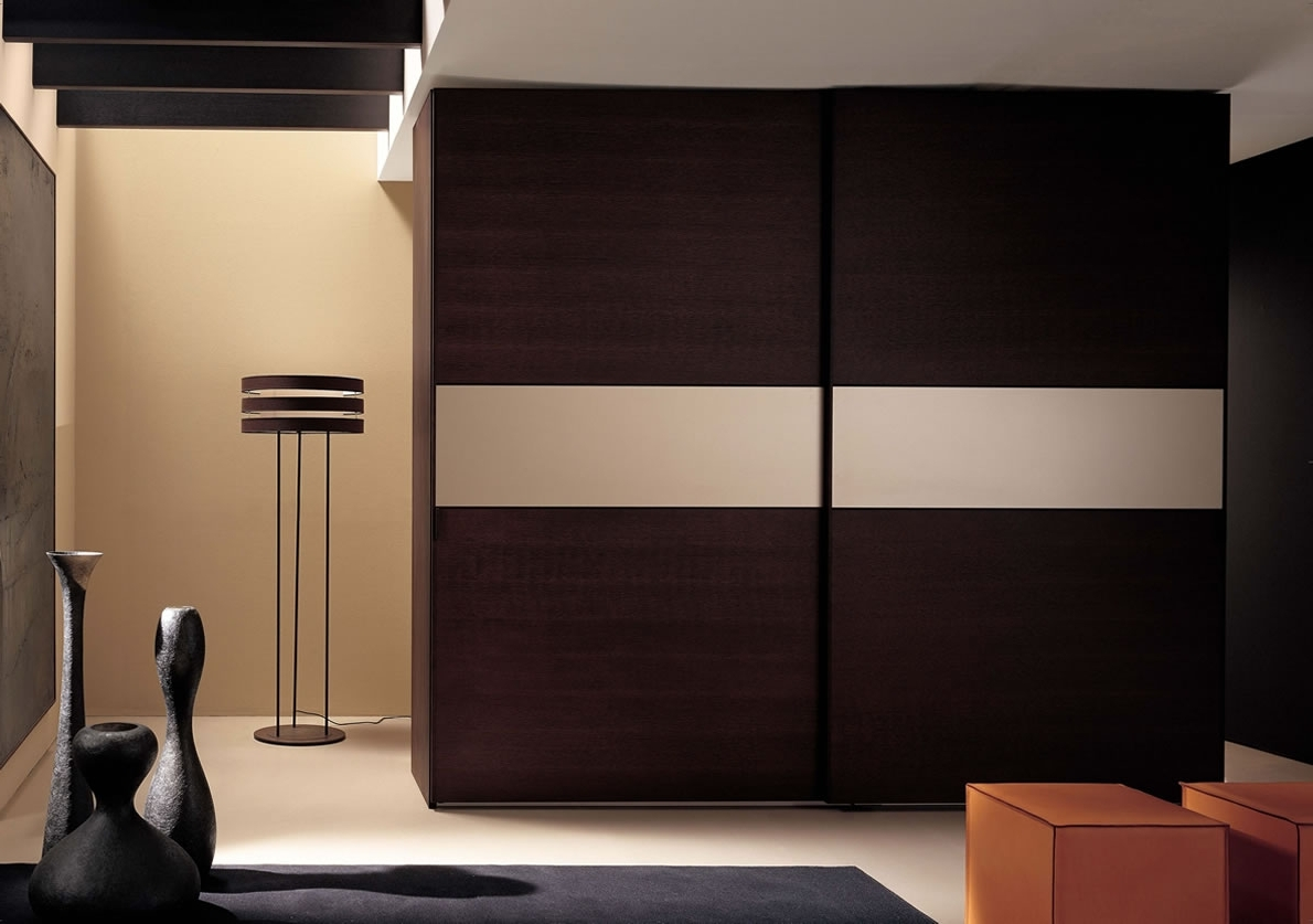 Dark Brown Wardrobes Inside Most Current Bedroom : Minimalist Bedroom With Wall Mounted Brown Modern Wall (View 11 of 15)