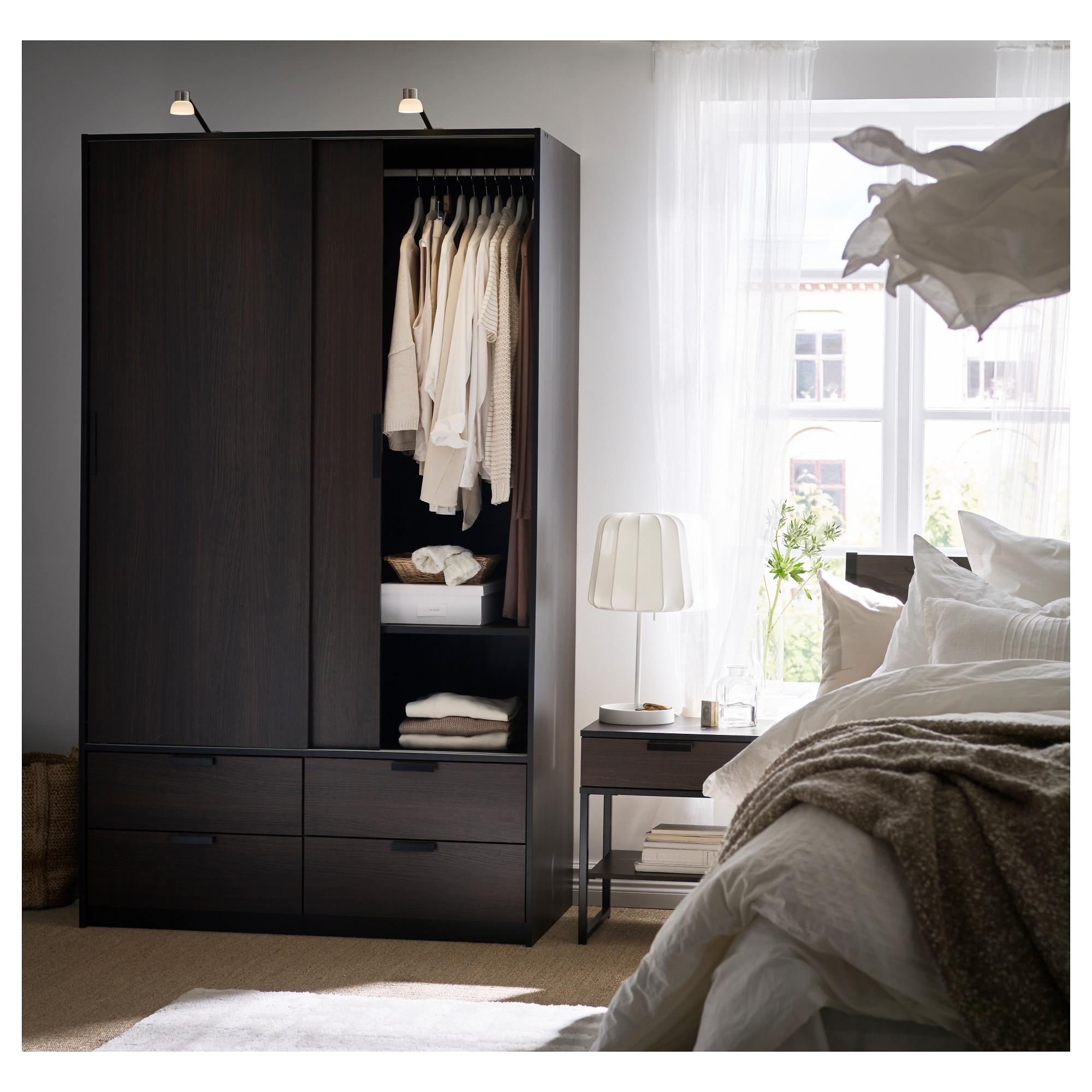 Dark Brown Wardrobes With Regard To Newest Trysil Wardrobe W Sliding Doors/4 Drawers – Dark Brown – Ikea (View 8 of 15)