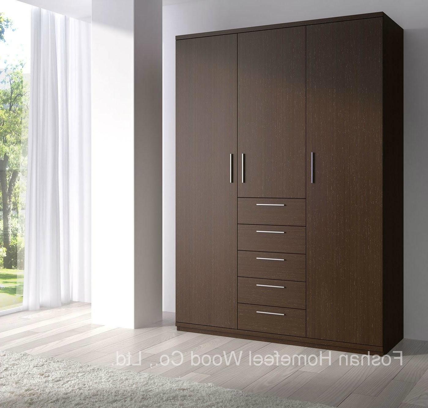 Dark Brown Wardrobes With Regard To Trendy China Dark Brown Wooden Wardrobe With 3 Door Modern Furniture (Hf (View 6 of 15)