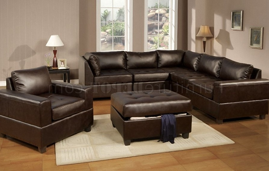 Dark Espresso Bonded Leather 5Pc Modular Sectional Sofa Pertaining To Current Leather Modular Sectional Sofas (View 3 of 10)