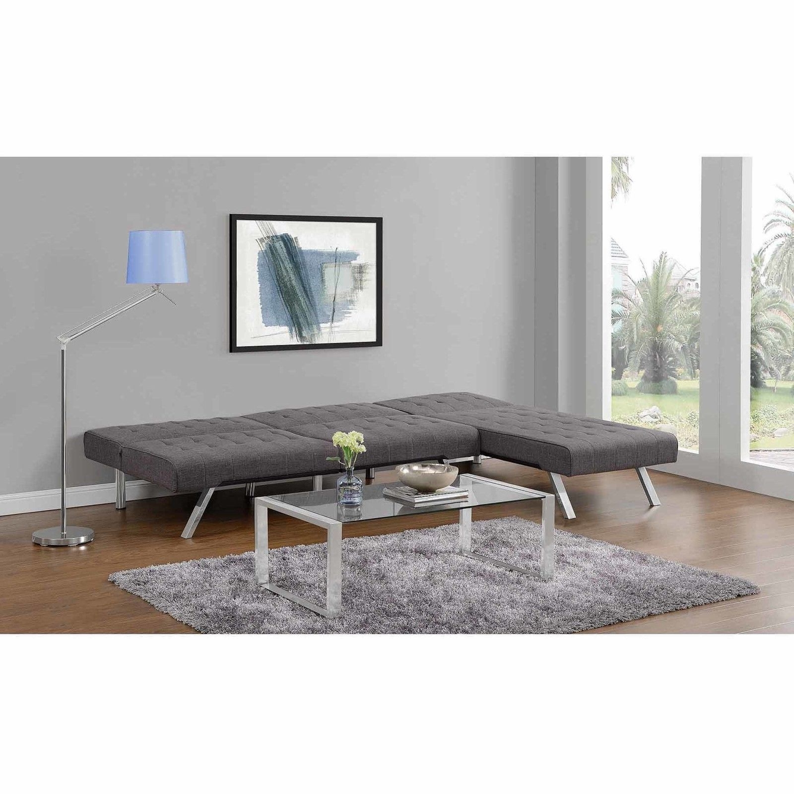 Dhp Emily Linen Chaise Lounger Gray Chair 2024429  (View 4 of 15)