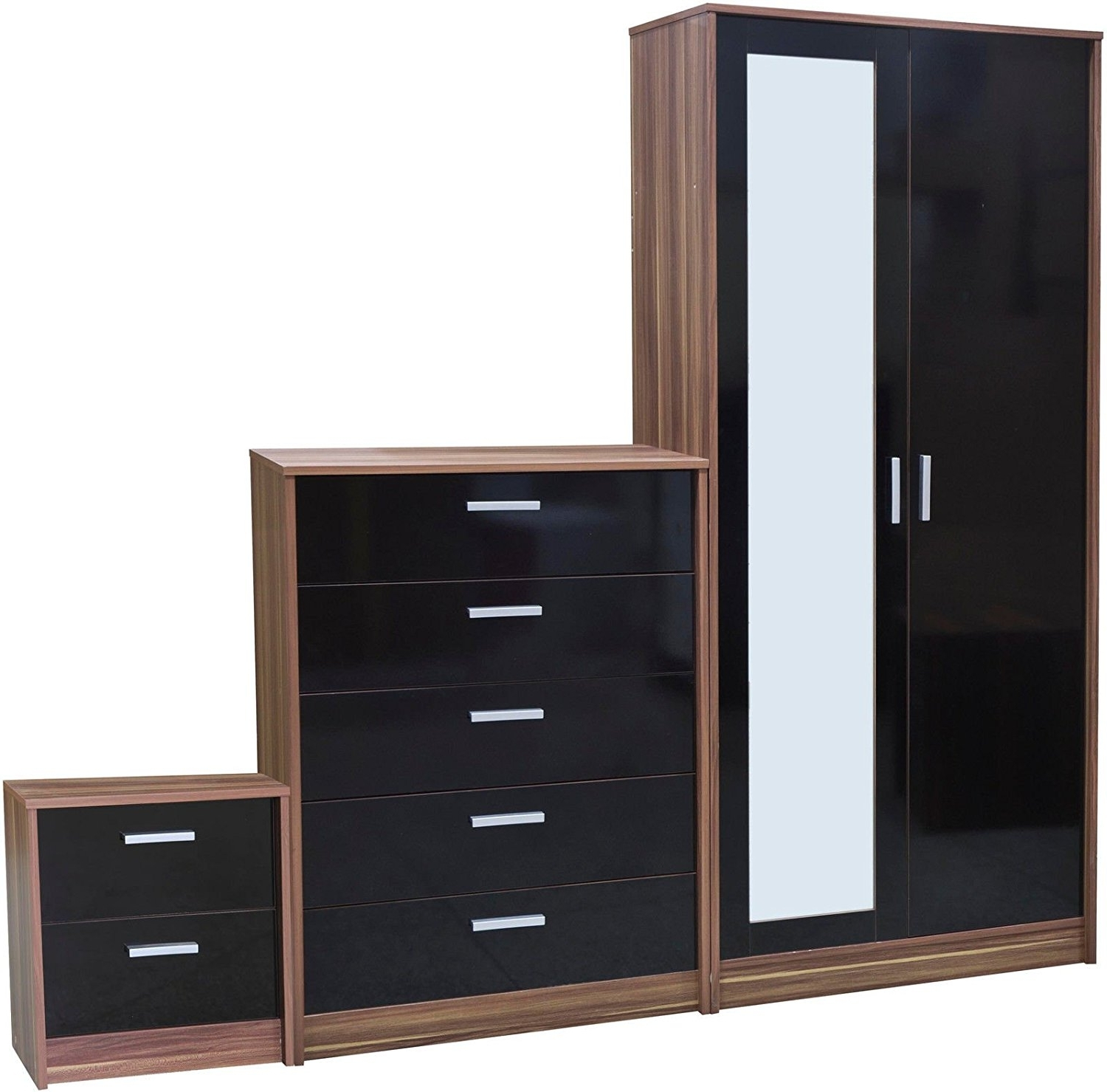 "Direct Furniture ""khabat"" 2 Door Mirrored Wardrobe And 5 Drawer Throughout 2018 Cheap Black Wardrobes (View 12 of 15)"