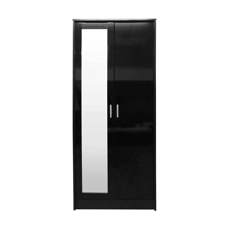 "Direct Furniture ""khabat"" 2 Door Mirrored Wardrobe, Mdf/chipboard Within Well Known Black Gloss Mirror Wardrobes (View 11 of 15)"