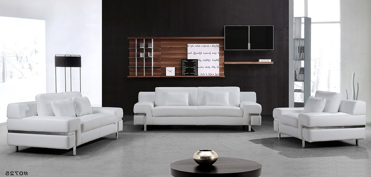 Divani Casa Clef – Modern White Leather Sofa Set Within Best And Newest White Leather Sofas (View 7 of 10)