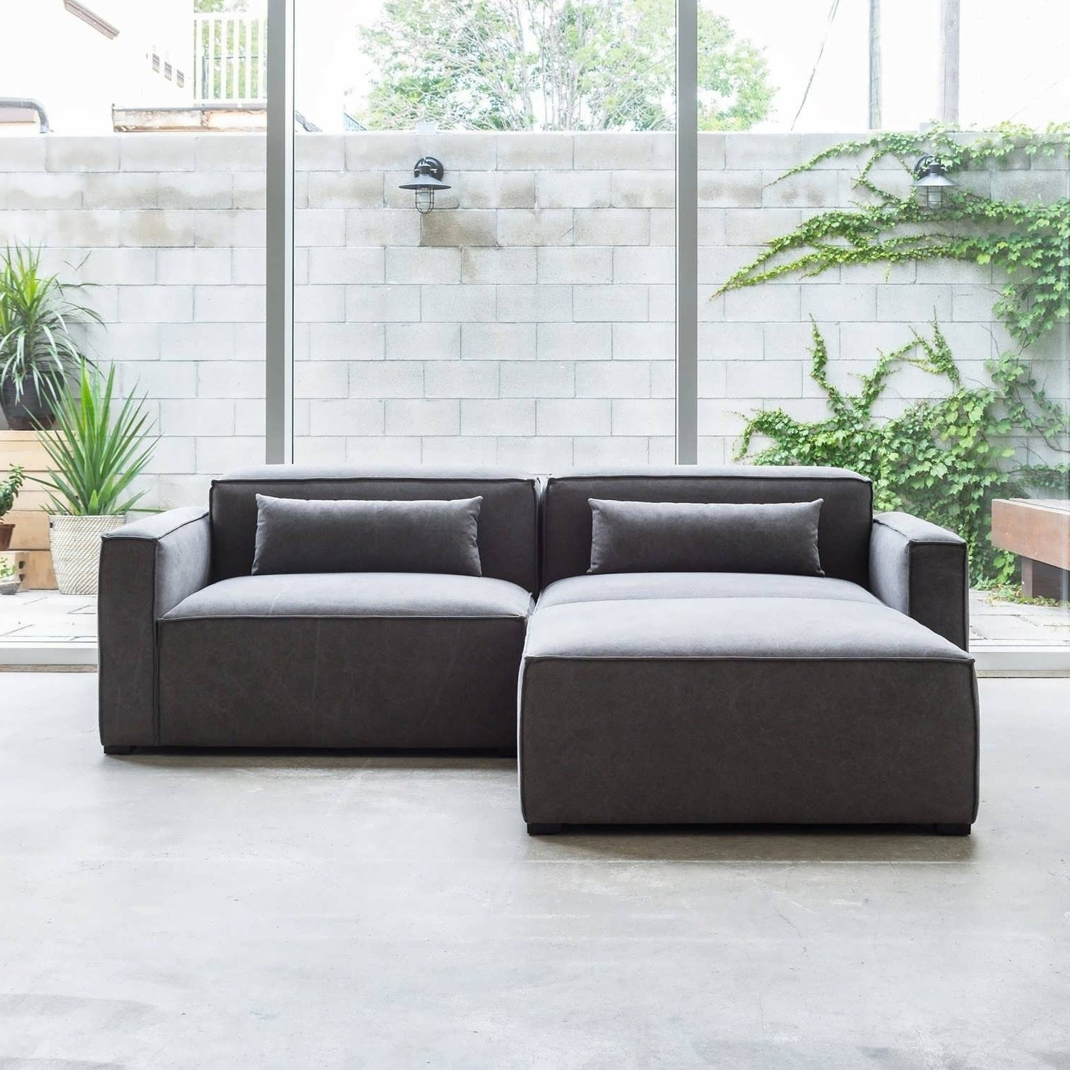 Double Chaise Sectionals Inside Popular Sofa : Modern Sectional Sofas  Double Chaise Sectional Living Room (
