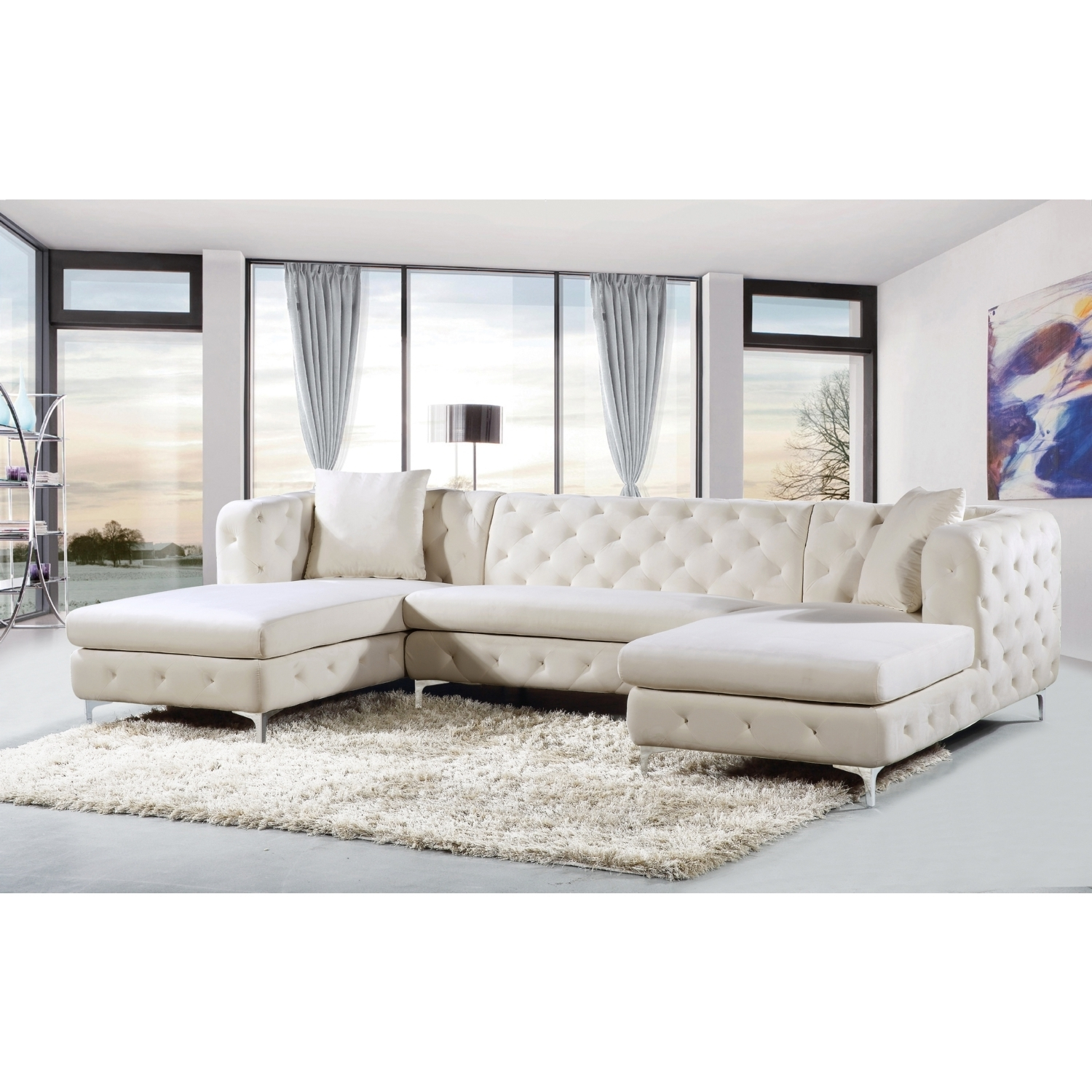 Double Chaise Sofas In Famous Meridian Furniture 664cream Sectional Gail 3 Piece Double Chaise (View 11 of 15)