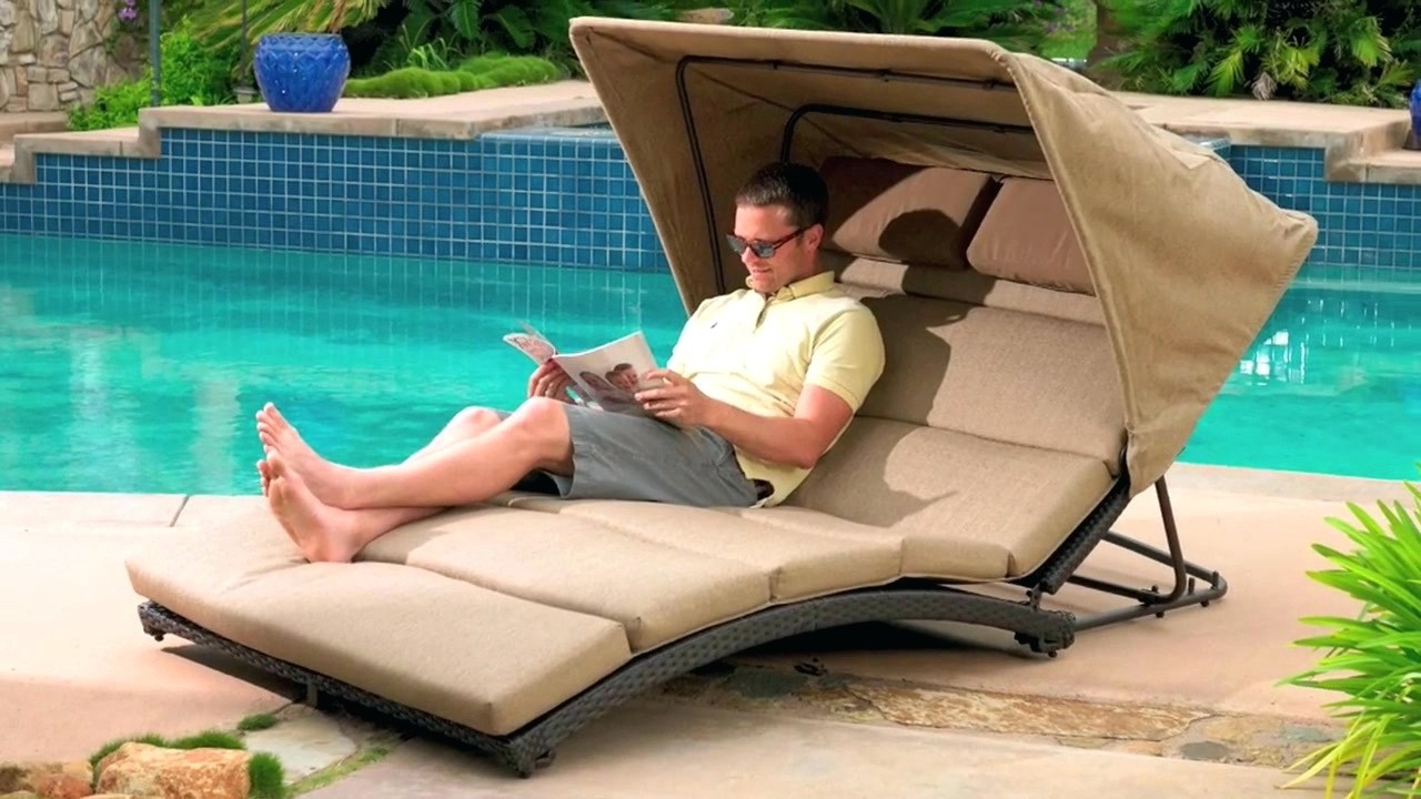 Double Lounge Chair With Canopy • Lounge Chairs Ideas In Newest Outdoor Chaise Lounge Chairs With Canopy (View 5 of 15)