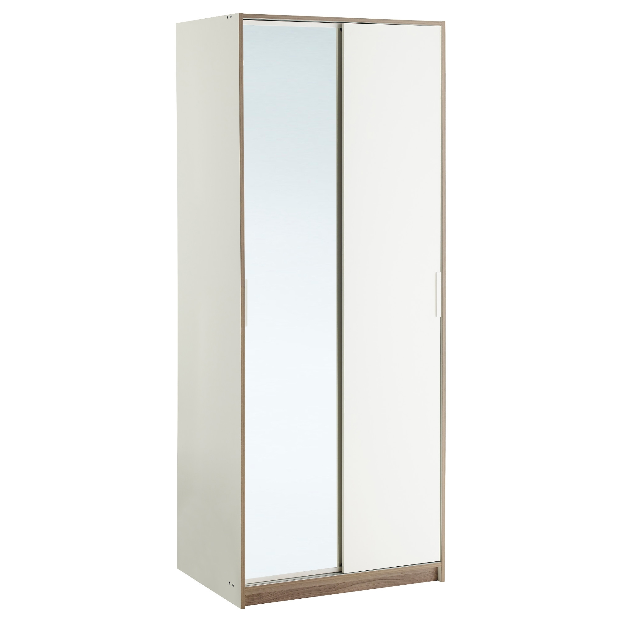 Double Mirrored Wardrobes Intended For Well Known Trysil Wardrobe White/mirror Glass 79X61X202 Cm – Ikea (View 8 of 15)