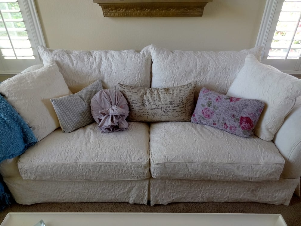 Down Filled Sofas Inside Trendy Macy's Shabby Chic White Brocade Down Filled Sofa! Love! $ (View 2 of 10)