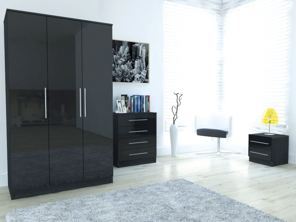 Edge Black High Gloss 3 Piece Large Bedroom Set (Gallery 4 of 15)