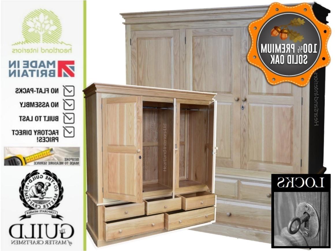 Edwardian Solid Oak Triple, 5 Drawer Wardrobe With Locks (View 12 of 15)