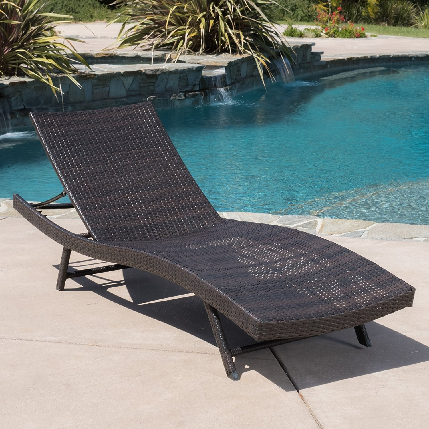Eliana Outdoor Brown Wicker Chaise Lounge Chairs For 2017 Amazon: Eliana Outdoor Single Brown Wicker Chaise Lounge (View 4 of 15)