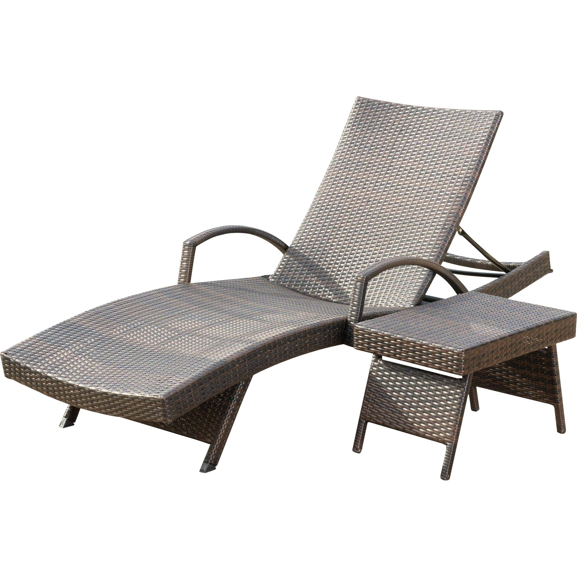Eliana Outdoor Brown Wicker Chaise Lounge Chairs With 2017 Eliana Outdoor Brown Wicker Chaise Lounge Chairs (set Of 2 (Gallery 1 of 15)