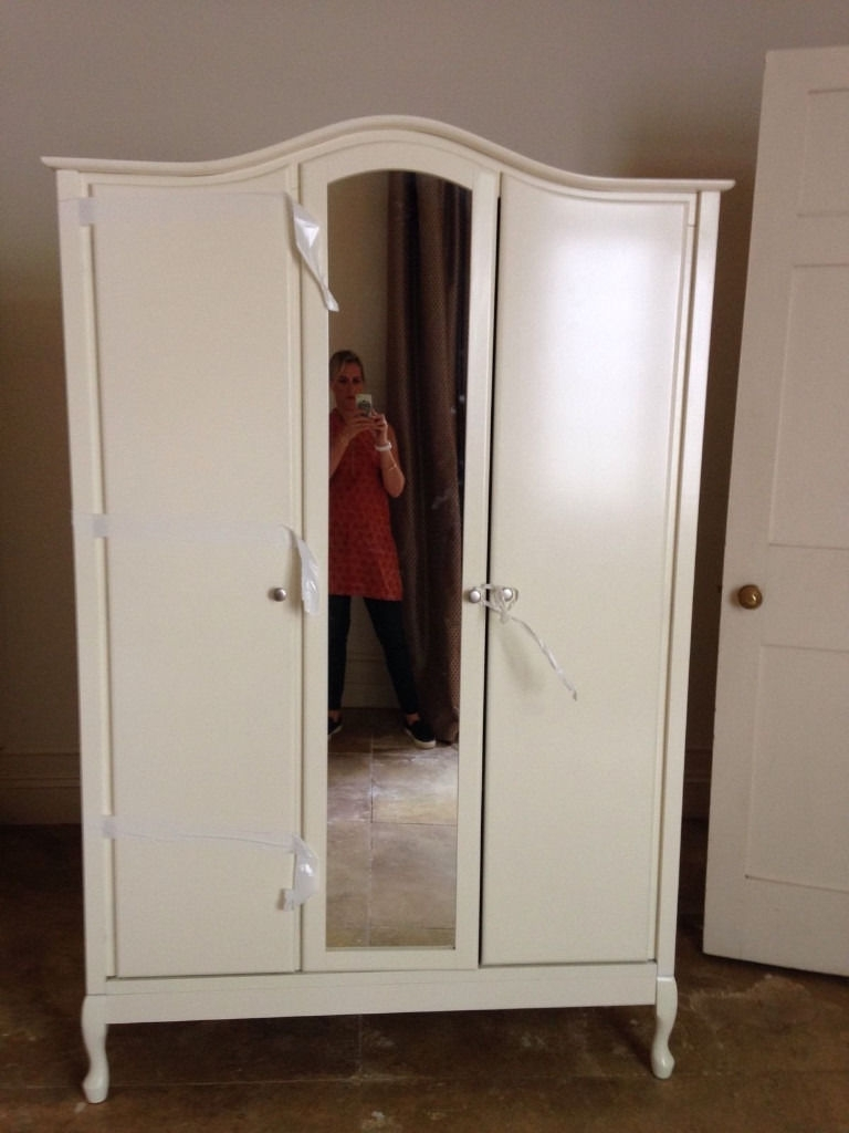 Elysee Cream Ivory Off White Large 3 Door Mirrored Wardrobe As New Regarding Popular White 3 Door Mirrored Wardrobes (View 4 of 15)