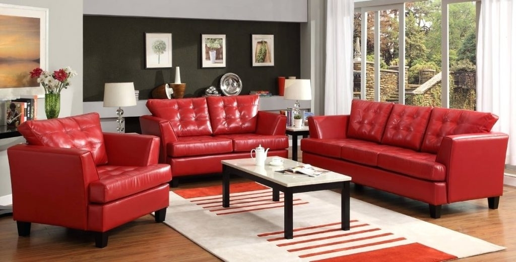 Enchanting Red Leather Sofa Set With Loveseat Leather Couches And With Regard To Recent Red Leather Couches And Loveseats (View 2 of 10)