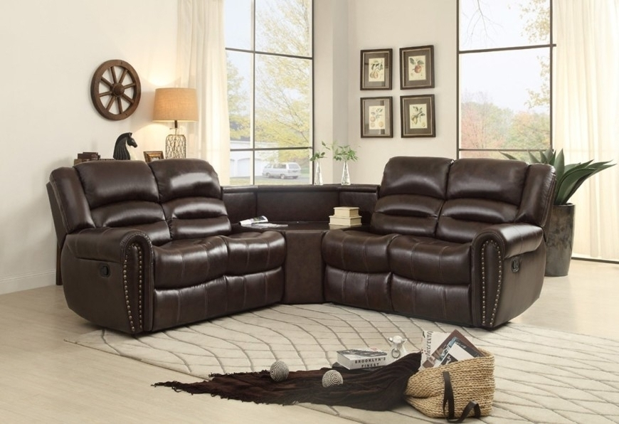 Excellent Living Room Espresso Double Reclining Loveseat W Console Within Recent Sofas With Consoles (View 8 of 10)