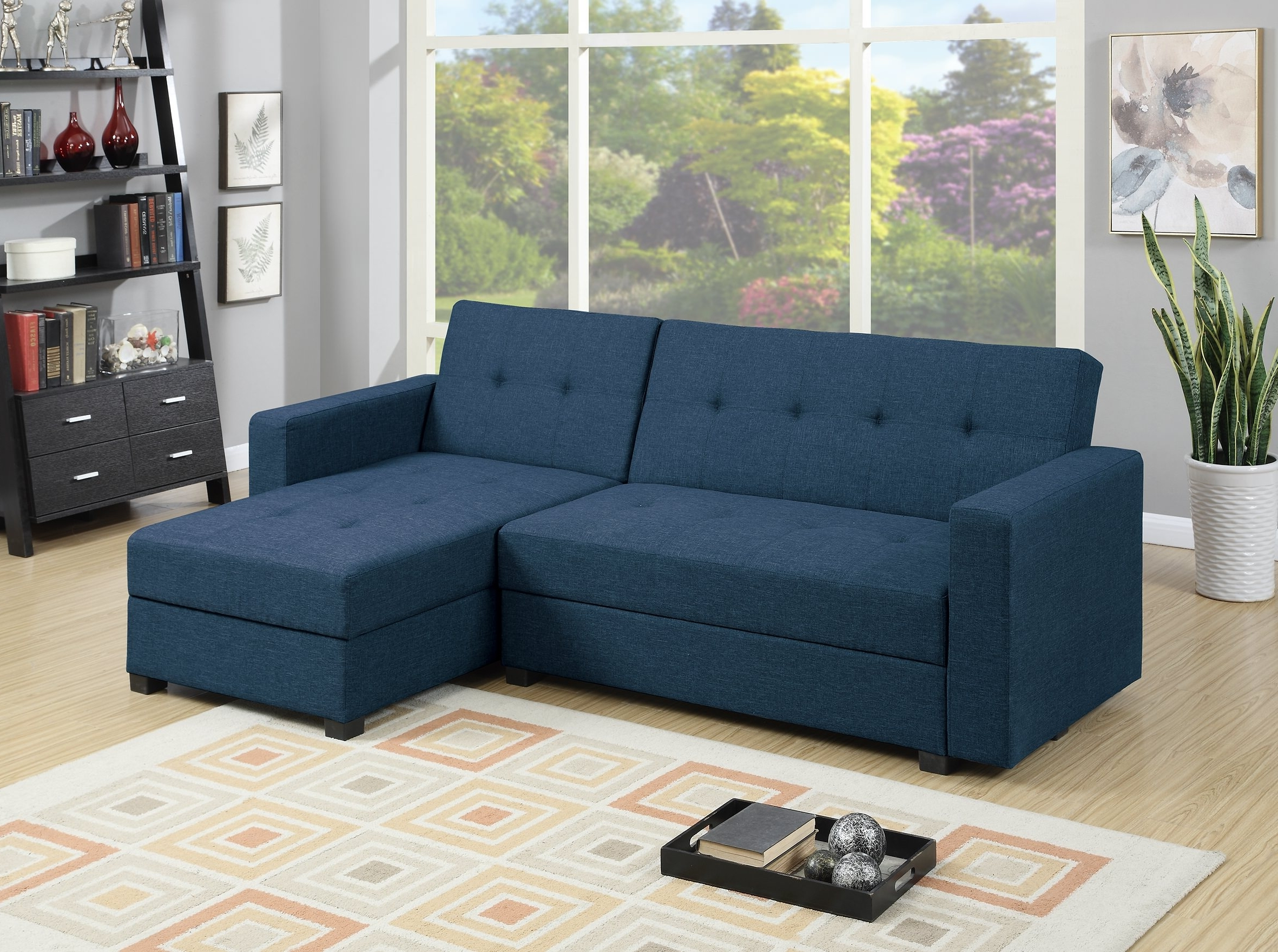 F7895 Navy Blue Reversible Chaise Sectional Sofapoundex Inside Well Known Reversible Chaise Sofas (View 5 of 15)