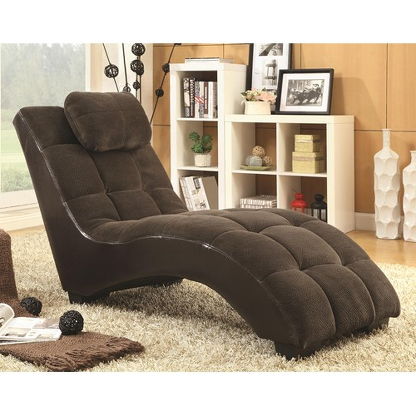 Fabric Chaise Lounge Chairs In Widely Used Brown Fabric Chaise Lounge – Steal A Sofa Furniture Outlet Los (View 8 of 15)