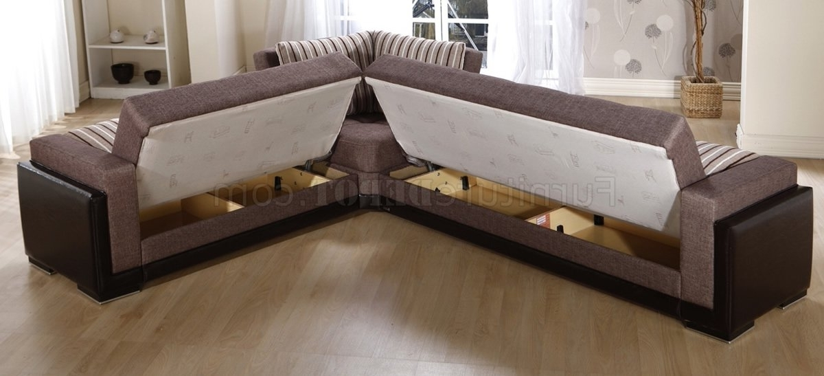 Fabric Leatherette Base Sectional Sofa Bed Wstorage Sectional Intended For Most Popular Sectional Sofas With Storage (View 2 of 10)