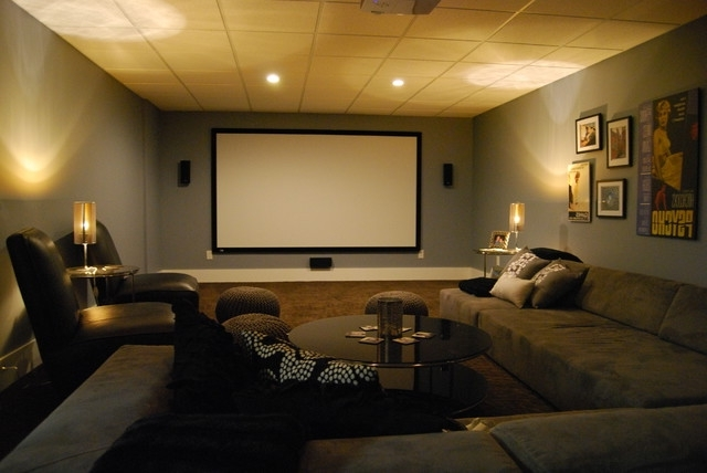 Famous Basement Media Room With Sectional Sofa And Giraffe Texture With Regard To Media Room Sectional Sofas (View 6 of 10)