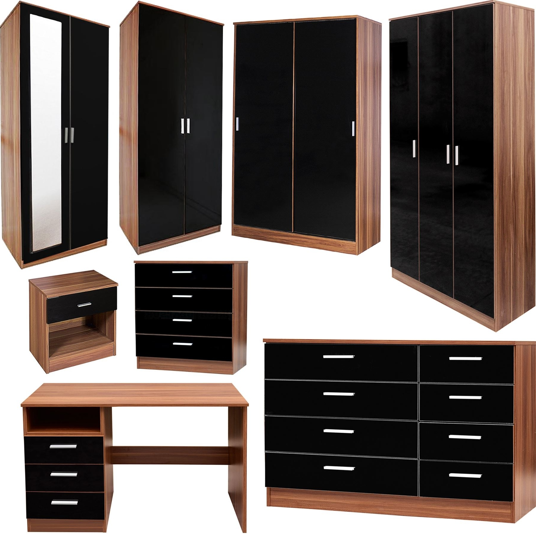 Famous Bedroom Furniture 3 Piece Set Black Gloss & Walnut Wardrobe With Regard To Black Gloss Wardrobes (View 5 of 15)
