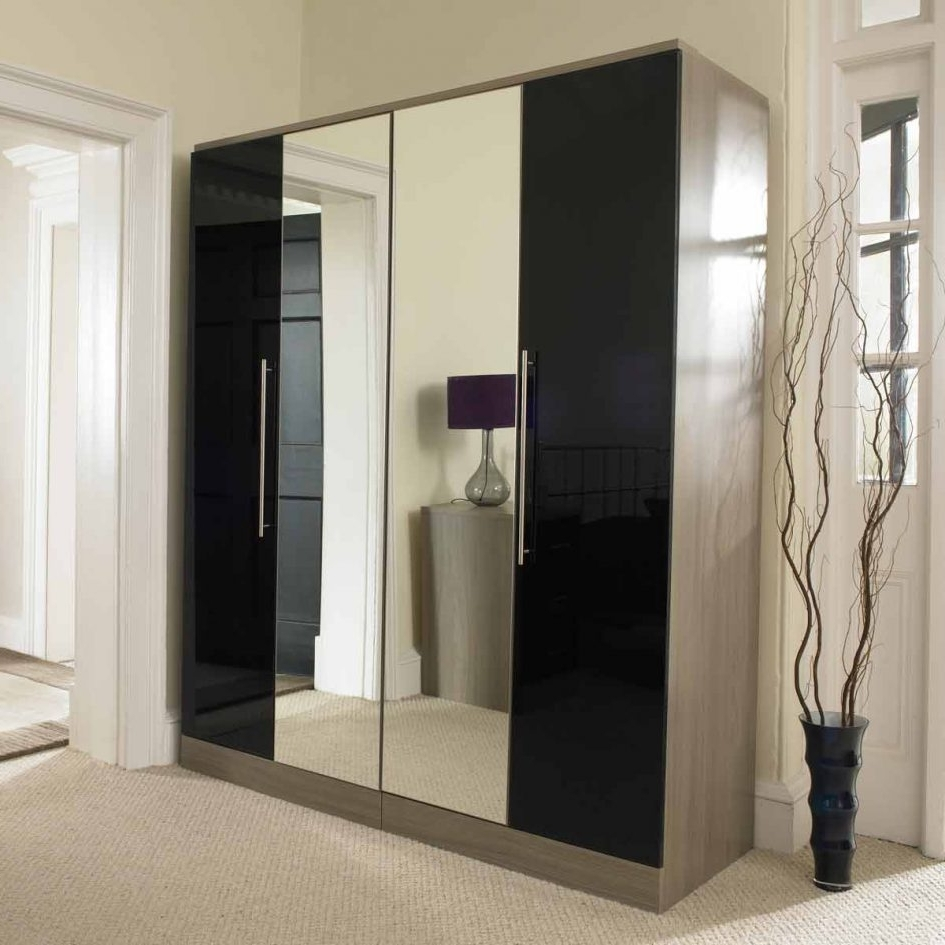 Famous Black Wardrobes With Mirror Intended For Single Door Wardrobe With Mirror Doors B&q Mirrored Sliding Inside (View 8 of 15)