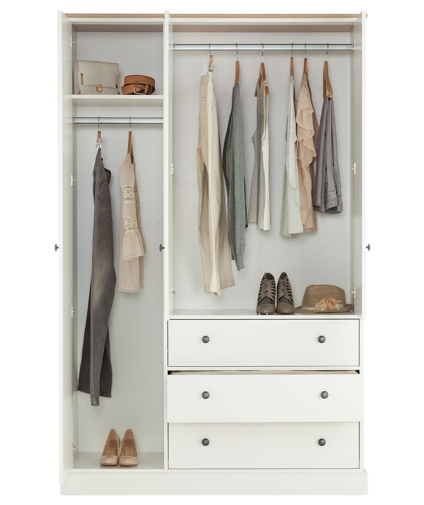 Famous Buy Kensington 3 Door 3 Drawer Wardrobe – Oak Effect & White At Regarding White Wardrobes With Drawers (View 4 of 15)