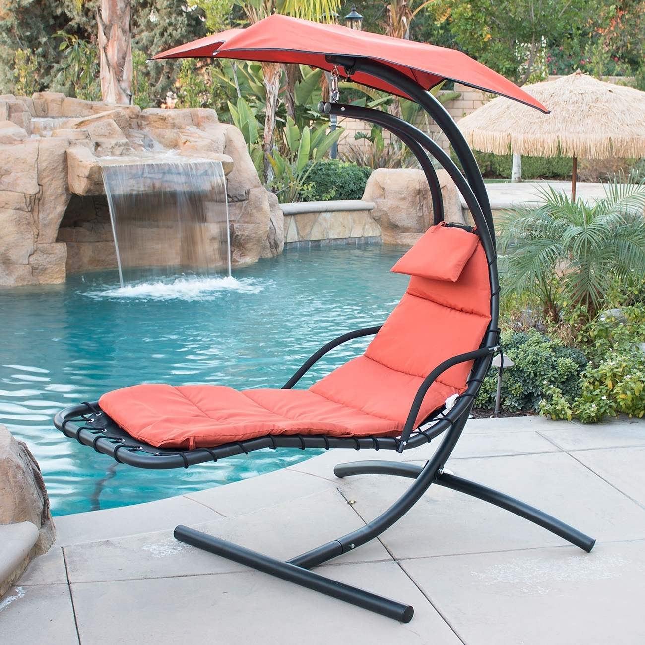 Famous Chaise Lounge Swing Chairs Within Hanging Chaise Lounger Chair Arc Stand Air Porch Swing Hammock (View 3 of 15)
