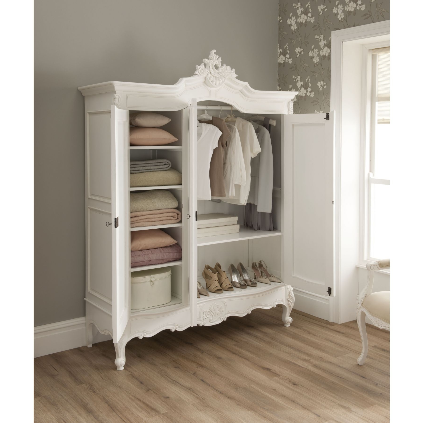Famous Chic Wardrobes Throughout La Rochelle Shabby Chic Antique Style Wardrobe (View 12 of 15)
