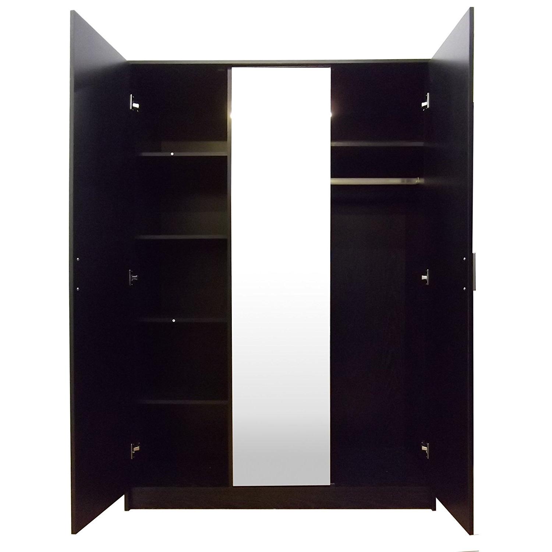 "Famous Direct Furniture ""khabat"" 3 Door Mirrored Wardrobe, Mdf/chipboard With Black Gloss 3 Door Wardrobes (View 9 of 15)"