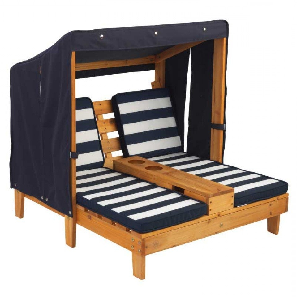 Famous Double Chaise Lounge With Cup Holders – Honey & Navy Inside Kidkraft Double Chaise Lounges (View 4 of 15)