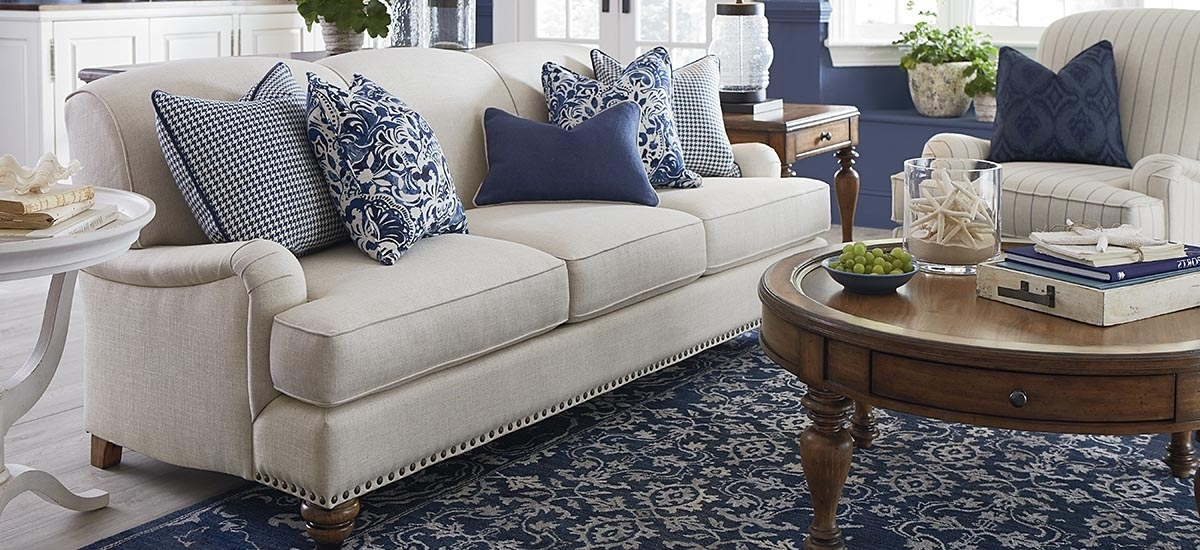 Famous Fabric Sofas Regarding Fabric Sofas And Couchesbassett Home Furnishings (View 7 of 10)
