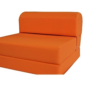 "Famous Folding Sofa Chairs Inside Amazon: Orange Sleeper Chair Folding Foam Bed Sized 6"" Thick X (View 1 of 10)"