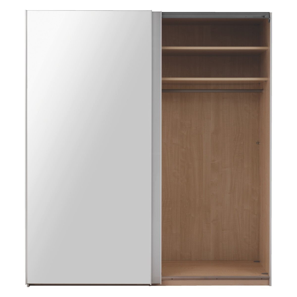 Famous Kripton Mirror&white Glass 2 Door Sliding Wardrobe W160Xh223Cm For 2 Sliding Door Wardrobes (View 7 of 15)