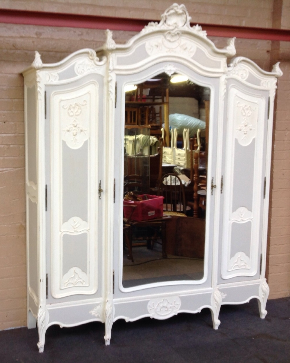 Famous Large French Painted Armoire (View 15 of 15)