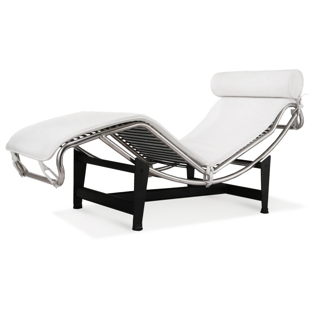 Famous Le Corbusier La Chaise Chair Lc4 Chaise Lounge White Leather Intended For Lc4 Chaise Lounges (View 7 of 15)