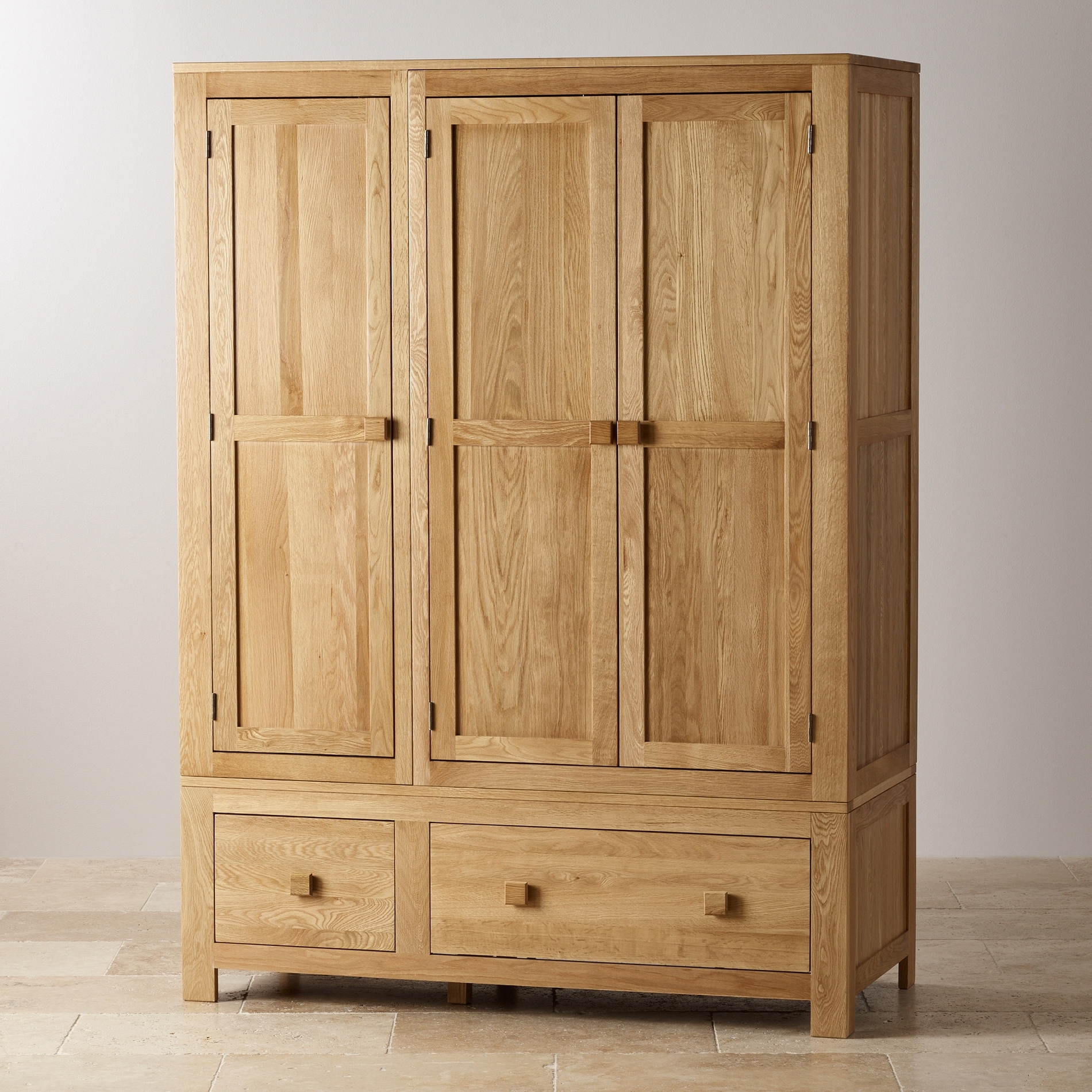 Famous Oakdale Natural Solid Oak Triple Wardrobeoak Furniture Land Intended For Triple Oak Wardrobes (View 6 of 15)